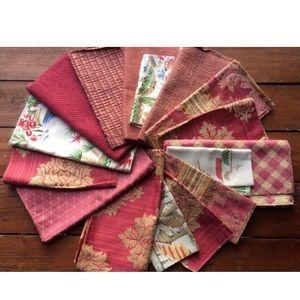16pcs Fabric Samples Pink Tones Crafting Lot